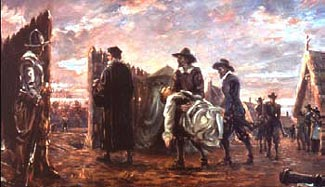 Artist's concept of the burial of Jamestown's dead