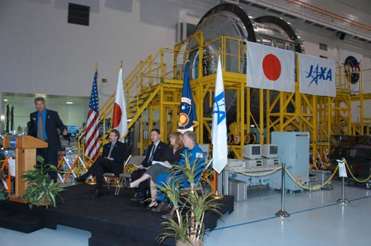 Welcoming ceremony in the Space Station Processing Facility.