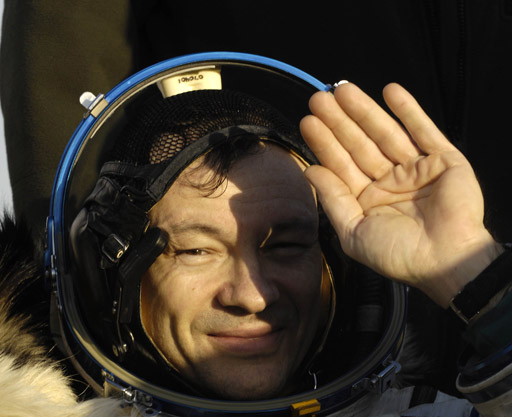 Expedition 14 Commander Michael Lopez-Alegria at the landing site in Kazakhstan. Photo credit: NASA/Bill Ingalls