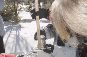 Educators using a wooden yardstick and aluminum can to measure snow