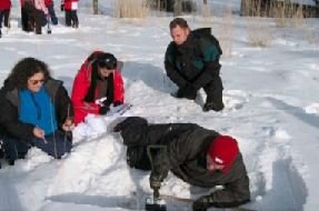 Educators sitting and digging in snow