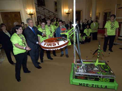 FIRST robotics teams meet President Bush at the White House. Credit: NASA/Bill Ingalls