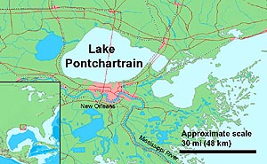 A map of Lake Pontchartrain, New Orleans and the surrounding area