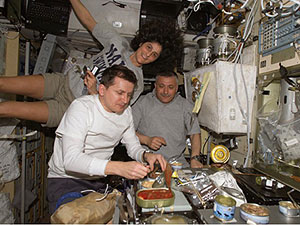ISS014-E-20132 - The crew members onboard the ISS share a meal