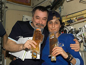 ISS014-E-19924 - Cosmonaut Mikhail Tyurin and astronaut Sunita Williams
