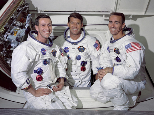 Walter Schirra, Apollo 7 Mission Commander (center),