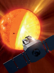 Artist's concept of SOHO examining the center of the sun