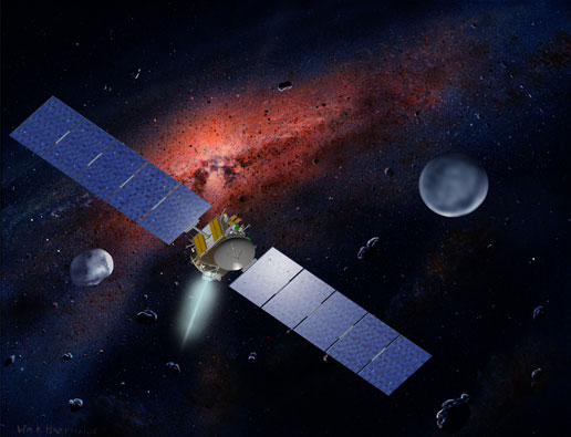 artist concept of Dawn near Ceres and Vesta