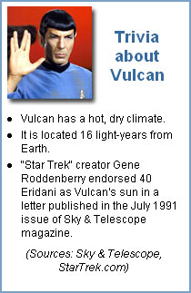 Trivia about Vulcan:   Vulcan has a hot, dry climate.  It is located 16 light-years from Earth.