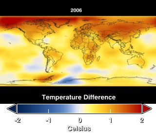 Still from animation demonstrating the increase in annual mean temperature in five year increments from 1880 through 2006.