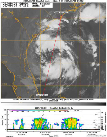 Cloudsat image of Tropical Depression Andrea