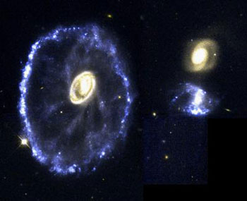 A rare and spectacular head-on collision between two galaxies appears in this NASA Hubble Space Telescope true-color image of the Cartwheel Galaxy.