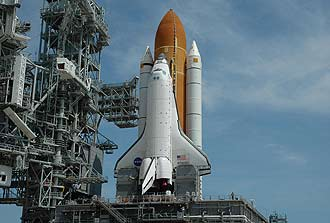 Shuttle Atlantis reaches launch pad 39A.