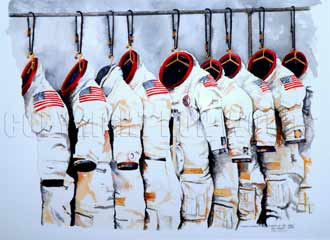 Ron Woods painted this picture of Apollo spacesuits.