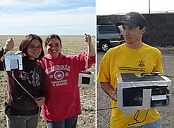 Two pictures showing students holding foil-covered boxes