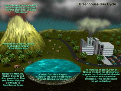 Greenhouse gas cycle graphic