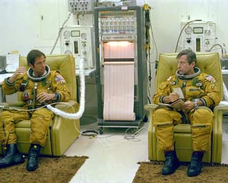 Astronauts John Young and Robert Crippen put on spacesuits before STS-1.