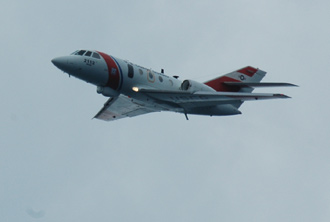A Coast Guard Falcon jet takes part in search-and-rescue exercises at Kennedy Space Center in Florida.