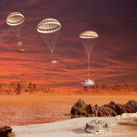 Artist's impression of the descent and landing sequence followed by ESA''s Huygens probe to Titan.
