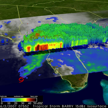 This image was taken by TRMM at 3:55 am EDT June 2, 2007 as Barry was moving northeast in the southeastern Gulf of Mexico.