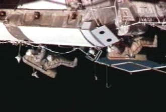 Kotov, Yurchikhin during the second spacewalk of Expedition 15
