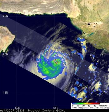 Gonu as it moved northwest through the central Arabian Sea.