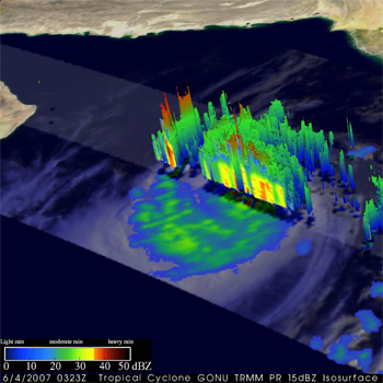 3-D perspective of Gonu using data collected from the TRMM Precipitation Radar.