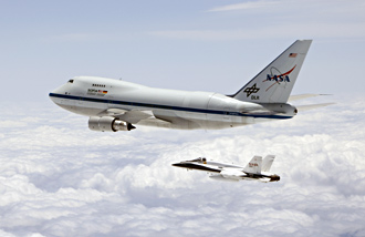 SOFIA airborne observatory and an F/A-18 safety chase aircraft. .