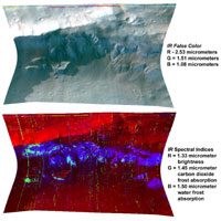 The top image of this stacked pair of images is a false-color image showing white frost covering alluvial fans beneath a cliff. The bottom image is an infrared view of the same surfaces, showing blue areas covered by frozen water vapor interspersed with aqua patches covered by an even colder coating of frozen carbon dioxide.