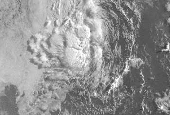 Satellite image of a tropical depression taken on June 12, 2007