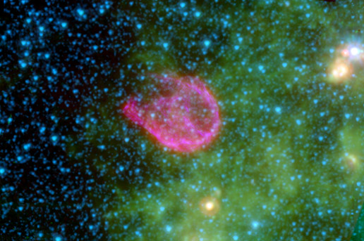 This false-color composite from NASA's Spitzer Space Telescope and NASA's Chandra X-ray Observatory shows the remnant of one such explosion.