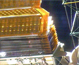 partially retracted solar array on the Port 6 truss