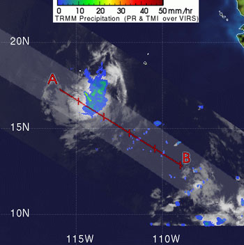TRMM image of the tropical depression which formed and then quickly dissipated on June 14, 2007.