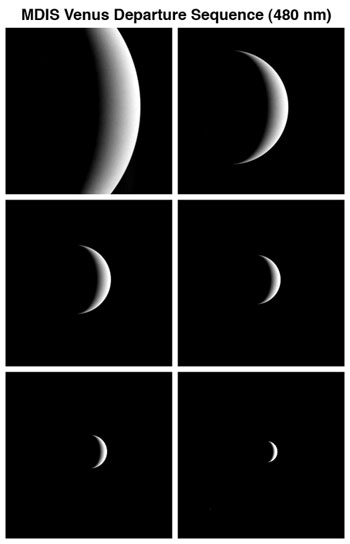 Six images of Messenger as it departs Venus