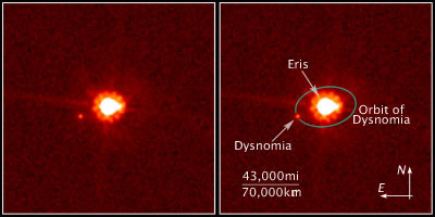 Image of Eris, the largest member of a new class of dwarf planets in our solar system.