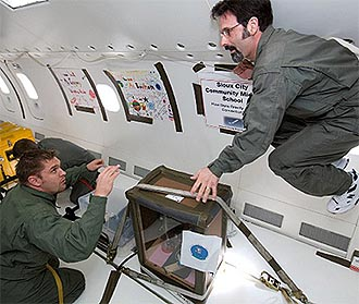 Teachers with their experiment on a reduced-gravity airplane