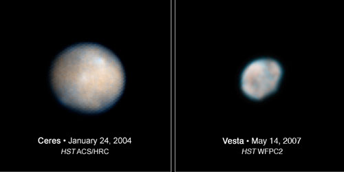 Images of the asteroids Ceres and Vesta