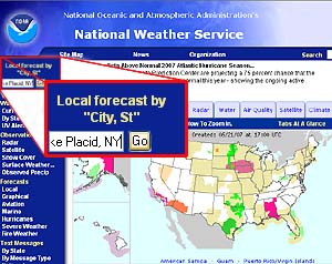 A screen shot of the National Weather Center Web site highlighting the area used to select local forecast by city and state