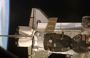 ISS015-E-12471 : Atlantis and Soyuz docked to space station