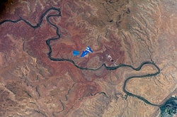 ISS015-E-08879 --- An evaporation pond near the Colorado River in Utah