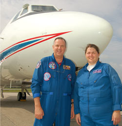 Jack 'Trip' Nickel and Alyson Hickey crew the Shuttle Training Aircraft during practice landings.