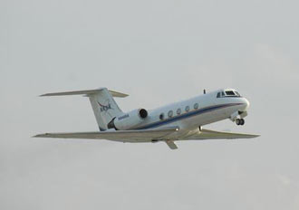 The Shuttle Training Aircraft is a modified Gulfstream business jet that mimics the orbiter.