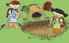 A cartoon of three children studying the dirt in a hole dug in a grassy area