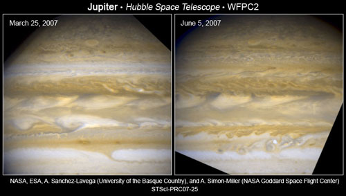 Between March 25 and June 5, Hubble's Wide Field and Planetary Camera 2 captured entire bands of clouds changing color on Jupiter.