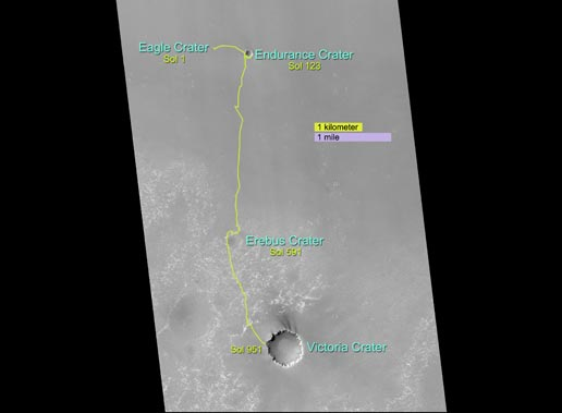 Opportunity's route from its landing site through sol 1,215