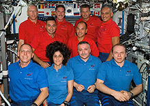 The STS-117 and Expedition 15 crew members