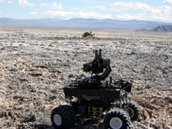 A vehicle-like robot in the desert