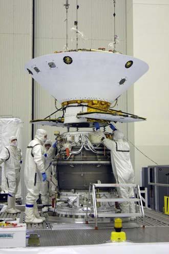 Phoenix spacecraft in the clean room.