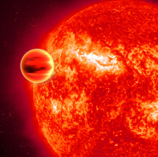 artist's concept infrared view of gas-giant exoplanet transiting across the face