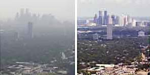 Houston on a smoggy day (left) and a clear day (right). Image courtesy: The Batelle Institute